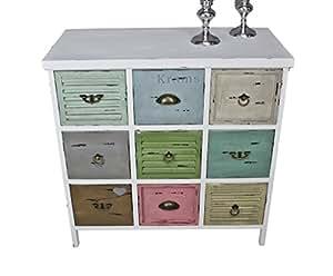elbm bel kommode vintage aus holz mit bunten schubladen im shabby chic look k che. Black Bedroom Furniture Sets. Home Design Ideas