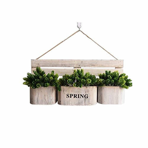 Hängende Korb-Blumen-Stand-Blumentopf-Zahnstange an der Wand befestigte Pflanzer-Halter-hölzerne Dekoration-Anzeigen-Regal-Retro- Behälter-Wohnzimmer-Balkon-Innengarten-Hanf-Seil im - Pflanze Stand Hängende Freien Im