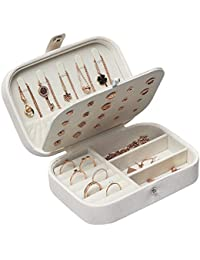 STURME Jewellery Box for Girls Women PU Leather Jewellery Organiser for Rings Earrings Necklace Bracelets Various Compartments to Store All Sort of Jewellery (White)