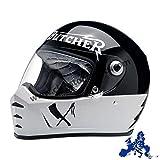 Casco Integrale Biltwell Lane Splitter Rusty Butcher Omologato Bianco Nero Universale x Moto Harley e Custom Taglia L
