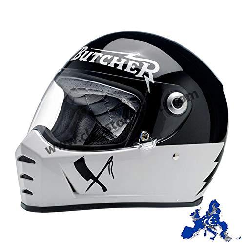Casco Integrale Biltwell Lane Splitter Rusty Butcher Omologato Bianco Nero Universale x Moto Harley e Custom Taglia S