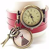 montre cuir bracelet 3 liens cabochon bronze illustré vintage, ciseaux, robe, couture, rouge