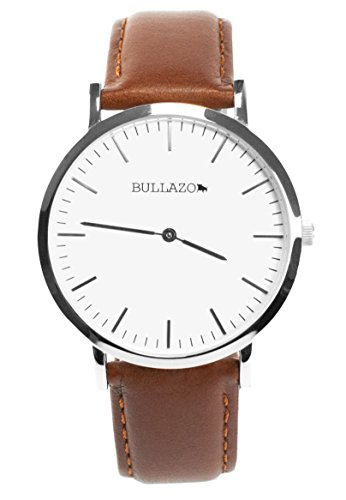 BULLAZO Sencillo, Edle Herrenuhr Damenuhr mit klassischem Ziffernblatt, Quarz-Uhrwerk, Lederarmband, Braun Silber