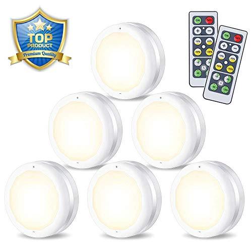 Schrankleuchten LED Nachtlicht mit Fernbedienung | 6er Licht | 4 Dimmstufen | Batteriebetrieben | Kabinett Beleuchtung für Schlafzimmer | Kleiderschrank | Küche | Energieeffizient | SOLMORE
