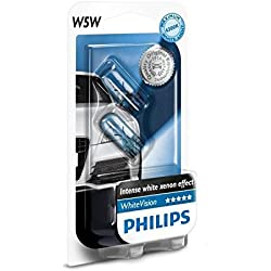 Philips - Pack 2 Ampoules Voiture W5W White Vision - Blanc Effet Xénon - Feux Avant - Lampes de Signalisation et Habitacle - Certifiées ECE