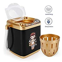 Washing Machine Mini Toy, MOGOI Automatic Electronic Makeup Brush Cleaning Washing Machine, Cleaner Spinner Machine Mini Toy for Cosmetic Brushes, Makeup Eggs Powder Puffs, Sponges