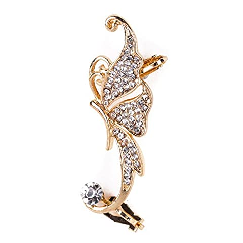 Mayitr 1Pc Fashion Shiny Butterfly Diamond Rhinestone Ear Cuff Clip Wrap Left Ear Earring (white)