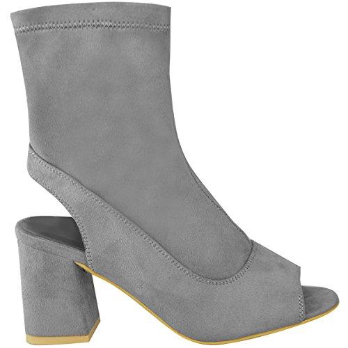 Neuf Pour Femmes Mid Talon Bloc Bas Bottine Bout Ouvert Dos Ouvert Chaussures Pointure Daim synthétique gris