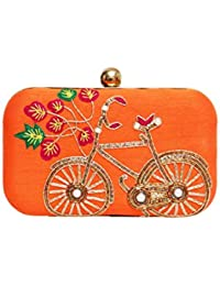 Wowtrendy Hand Embroidery Women's Box Clutch - Orange And Golden Color