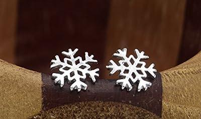Puces d'oreilles flocons de neige argent, clous oreilles hiver, flocons métal argent