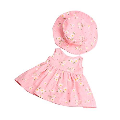Gazechimp Schöne Puppen geblümtes Kleid mit Hut Anzug Kleidung für 18 Zoll Mädchen Puppe - Pink (Kleidung Geblümtes Puppe Kleid)
