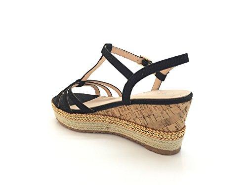 CHIC NANA . Sandale plateforme compensée en effet liège, semelle doublée de corde, attache brillant. Black