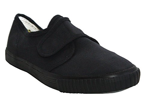 Dek Boys Girls Unisex Touch Fastening Strap Canvas Black White Flat School Pumps Plimsolls Trainers Shoes Infant-Youth Sizes 10-5