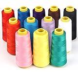 chyir 1500m Overlock Nähgarn 12Farben Yard Spulen Membran 100% Polyester für Quilten Draperie