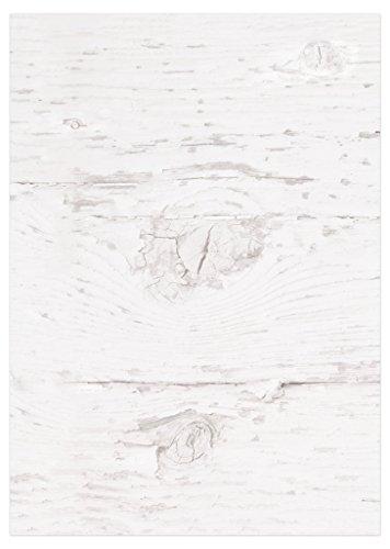 ANGEBOT: 50 Blatt Briefpapier WEISS mit HOLZ-OPTIK Schreibpapier Motivpapier Drucker-Papier Kopierpapier auf beiden Seiten bedruckt blanko; 100g Grammatur in DIN A4 shabby chic