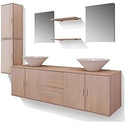 vidaXL Ensemble 9 pièces de mobilier Meuble de Salle de Bain et lavabo Vasque Beige