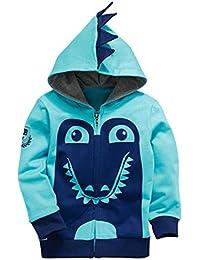 AKY Garçon Sweat-shirts à Capuche Zip Manches Longues Animal Imprimé Blousons Hoody pour Enfant 1 2 3 4 5 6 Ans