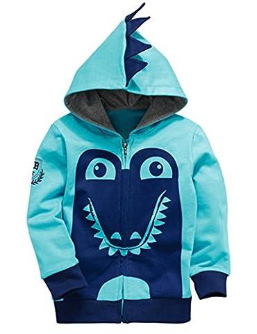 DongDong Kinder Jungen Dinosaurier Comic Sweatshirt Jacken Kapuzenpullover Full Zip, Blau, 4-5