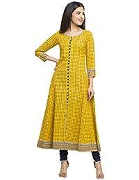 Yash Gallery Women's Cotton Slub Checks Print Anarkali Kurta (Yellow)