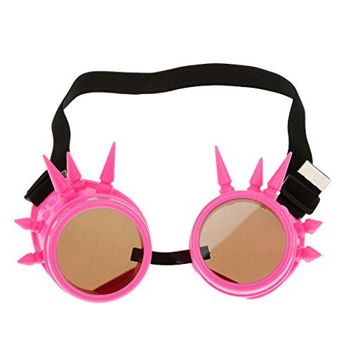 Preisvergleich Produktbild Rivet Steampunk Winddicht Spiegel Weinlese-gotische Objektive Goggles Glasses - Rosa
