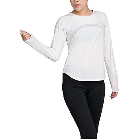 beepeak Mujer Moda Manga Larga activo T camisas Gym Yoga Tops con malla, Mujer, color blanco, tamaño large