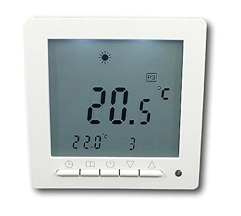 SM-PC®, Digital Thermostat für Fussbodenheizung max 16A, großes Display, Wochenprogramm, weiße Hintergrundbeleuchtung