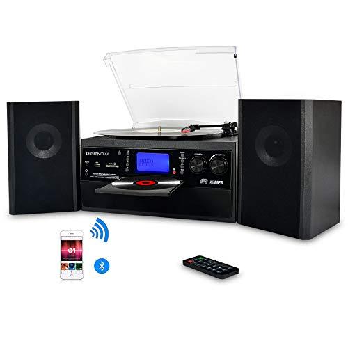dual stereoanlage mit plattenspieler DIGITNOW! Plattenspieler mit Stereo Lautsprechern, Schallplattenspieler Kompaktanlage Stützen Bluetooth / CD / Kassettendeck / Radio / Vinyl to MP3 USB-Codierung / 33 45 78 U/Min / Fernbedienung
