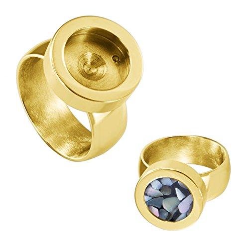 Quiges Edelstahl Wechselbare Mini Coin Münze Solitär-Ring Gold Glänzend Durchmesser 17mm (Solitär-ringe-gold)
