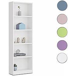Links Hugo b2 - Biblioteca de 5 compartimentos, melamina, color blanco