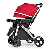 Quattro Rounds Passeggino può sedersi e sdraiarsi telaio in alluminio Toddler Sedile a due vie carrozzina pieghevole passeggino adatto per 0-5 anni (Rosso e nero)