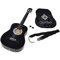 ts-ideen 5263 - Guitarra acústica clásica (incluye funda, correa, cuerdas y púa), color negro