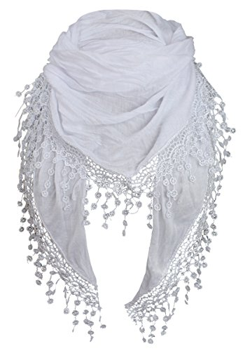 Tücher Damen (Damen Halstuch Tuch Dreiecktuch mit Bommeln Viele Farben (Weiss))