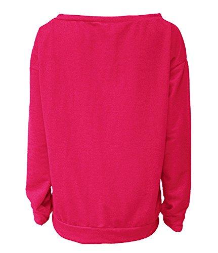 ZIOOER New Arrival Damen Pulli eine Seite Schulterfrei Love Langarm T-Shirt Rundhals Ausschnitt Lose Bluse Hemd Pullover Oversize Sweatshirt Oberteil Tops Rosa