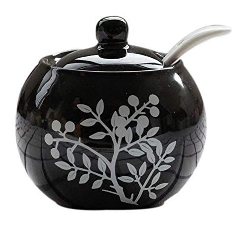 Koala Superstore Barattoli di condimento in ceramica stile europeo, vaso di foglie di sale dipinto a mano, nero