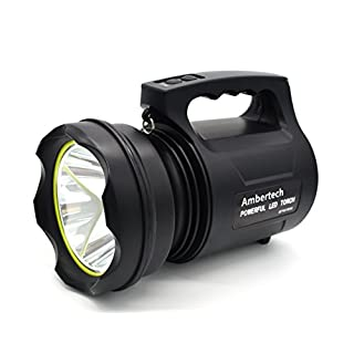 Ambertech 10000 Lumens Heavy Duty Lantern Powerful LED Torch Rechargable Flashlight Super Bright Outdoor Spotlight
