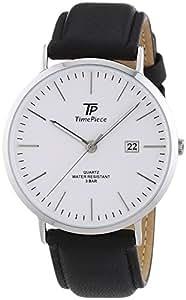 Time Piece TPGS-32368-51L - Mouvement Cristal de roche - Affichage Analogique - Bracelet Cuir Noir et Cadran Argent - Homme