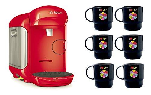 Bosch TASSIMO Vivy 2 Bundle Set + 6x Tupper Becher Tasse Kaffeemaschine (Rot)