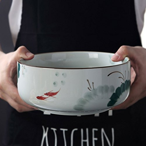 Japanisch-Stil Keramik große Obstsalat Schüssel kreative handbemalte Suppe Ramen Schüssel mischen...