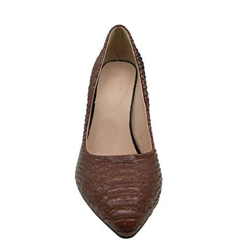 59747de1ac861d ... EDEFS Damen Chucky Heel Schuhe Blockabsatz Spitze Kleid-Partei Pumps  mit Animal Print Braun ...