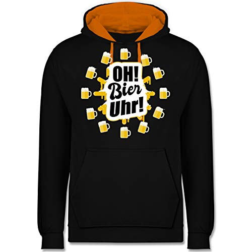 Sprüche - Oh Bier Uhr! Biergläser - S - Schwarz/Orange - JH003 - Kontrast Hoodie (Orange In Party-stadt)