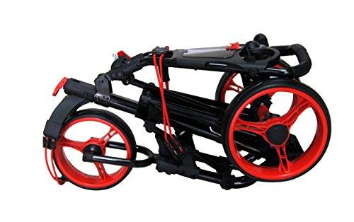 QWIK-FOLD Chariot À 3 Roues Chariot De Golf À Pousser À Tirer - Frein Au Pied - Une Seconde Pour L'Ouvrir Et Le Fermer! (Noir/Rouge)