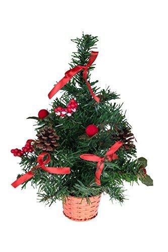 Clever creations - mini albero di natale da tavolo - decorato con palline, bacche, pigne e cestino - decorazione natalizia classica - leggero e resistente agli urti - rosso - 30 cm
