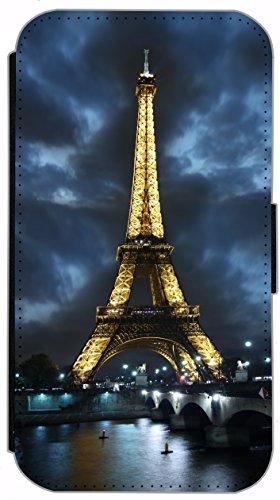 Flip Cover für Apple iPhone 4 / 4s Design 394 Eifelturm Paris Frankreich bei Nacht Blau Gelb Hülle aus Kunst-Leder Handytasche Etui Schutzhülle Case Wallet Buchflip (394) 394