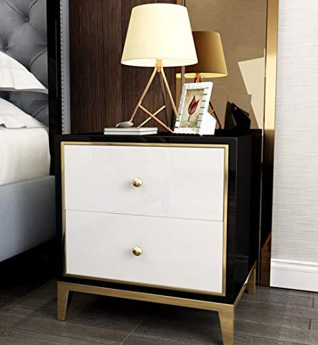 2 Schublade Nachttisch Holz-finish (QZX Möbel Holz Weißer Nachttisch, Moderner Schlafzimmertisch Möbel 2 Schubladen Nachttisch Schublade Kleiner Beistelltisch in hellem Eichen-Finish,Black+White)