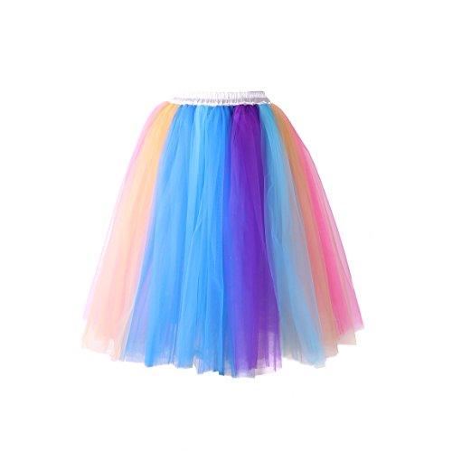 Krinoline Slip Petticoat Kostüm - Izanoy Damen Regenbogen Rock Tutu Petticoat Krinoline Unterrock Slip Regenbogen Large