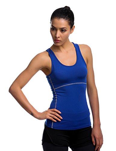 Jimmy Design Damen Top Tank Shirt Tights - Sleeveless - Blau - M