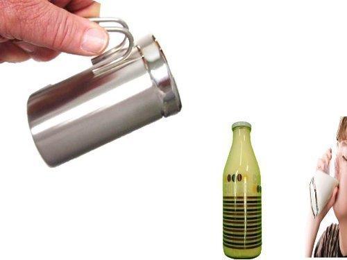 Milchkännchen zum Aufschäumen von Milchschaum, Edelstahl, für 400 ml + Dekomilch Glasflasche mit Deckel 1 Liter