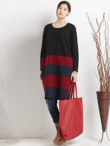 MatchLife Femme Stripe Langarm Robe Noir