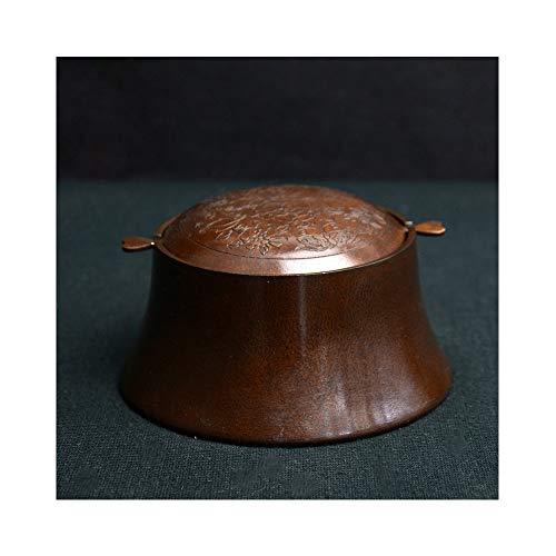WEN Antikes Kupfer Aschenbecher Persönlichkeit Retro Kupfer Aschenbecher Kreative Rotierenden Flip High-end Bronze 11,5X6X8 cm