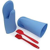 Guanti da Forno Mitts silicone resistente al calore Holder Cucina forno di cottura guanto Mitt Pot - 1 coppia blu, pennello, spatula